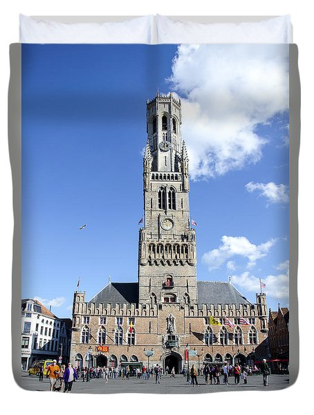 Duvet Cover featuring the photograph Belfry Of Bruges by Pravine Chester