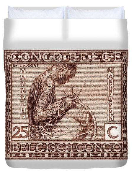 Duvet Cover featuring the painting Belgian Congo Woman Weaving Basket by Historic Image