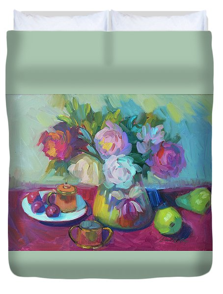 Duvet Cover featuring the painting Belgian Creamer And Sugar by Diane McClary