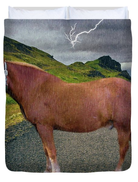 Duvet Cover featuring the photograph Belgian Horse by Ericamaxine Price