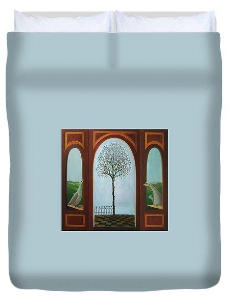 Duvet Cover featuring the painting Belgian Triptyck by Tone Aanderaa