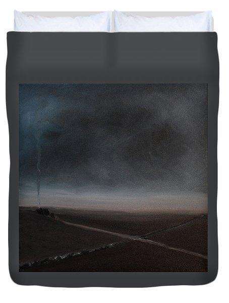 Duvet Cover featuring the painting Belgian Wintertime by Tone Aanderaa