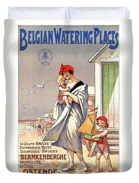Belgium Ostende Vintage Travel Poster Restored Duvet Cover by Carsten Reisinger