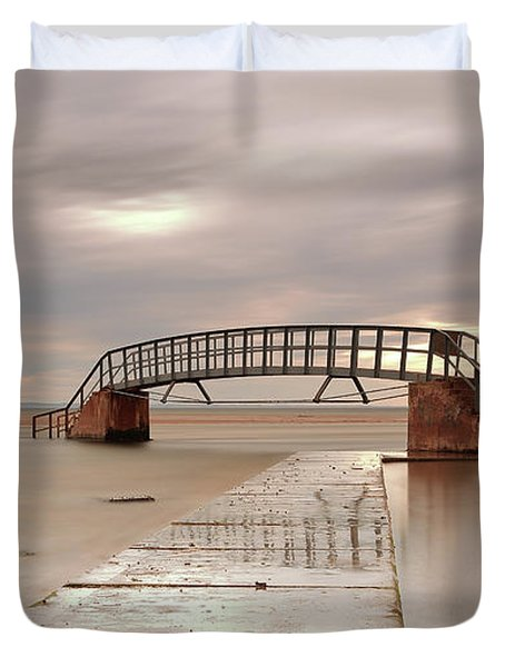 Belhaven Stairs And The Bass At Low Tide Duvet Cover