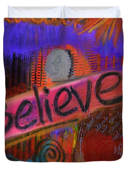 Duvet Cover featuring the painting Believe Conceive Achieve by Angela L Walker