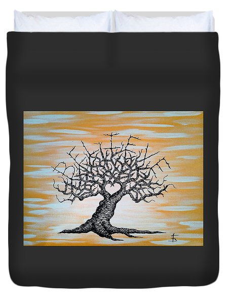 Duvet Cover featuring the drawing Believe Love Tree by Aaron Bombalicki
