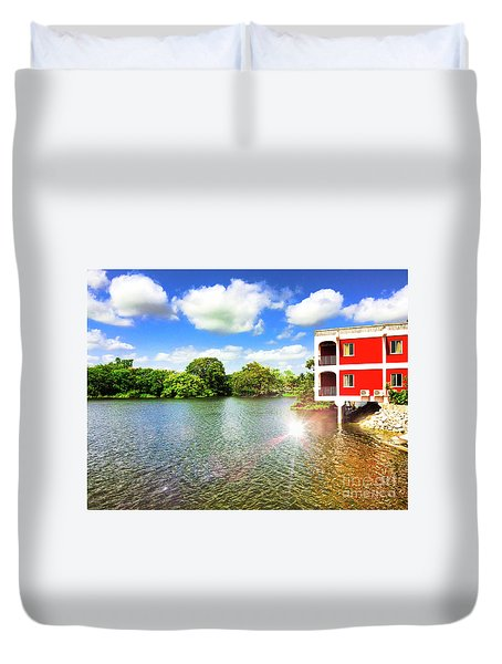 Belize River House Reflection Duvet Cover