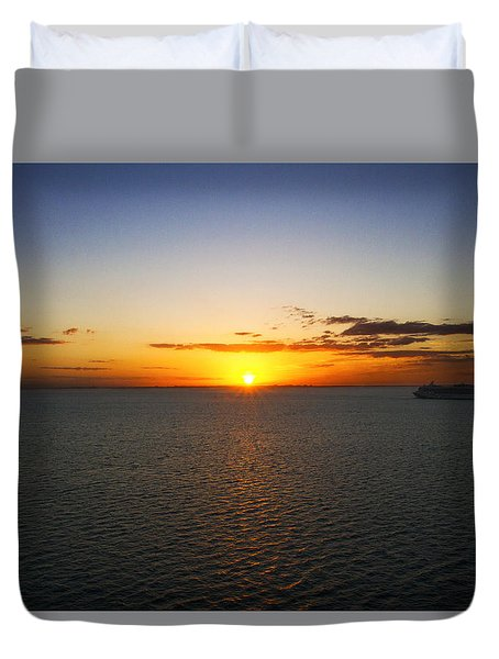 Belize Sunset Duvet Cover by Marlo Horne