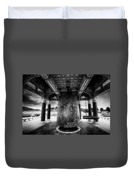 Duvet Cover featuring the photograph Bell Of Friendship B W  by Joseph Hollingsworth