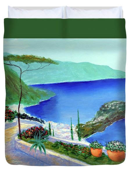 Duvet Cover featuring the painting Bella Monaco  by Larry Cirigliano