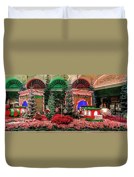 Bellagio Christmas Train Decorations Panorama 2017 Duvet Cover