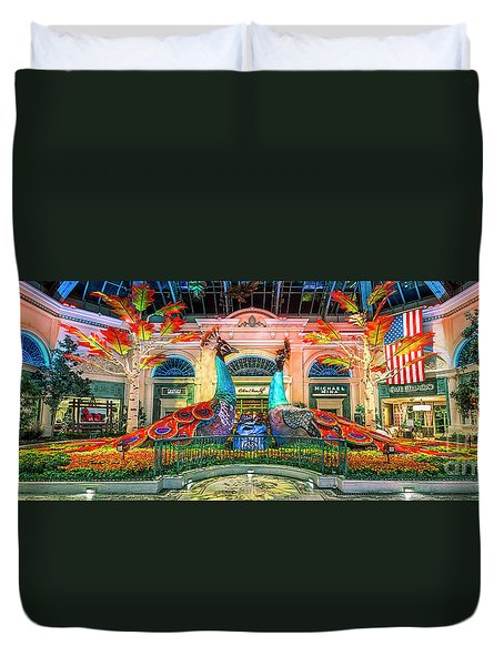 Bellagio Conservatory Fall Peacock Display Panorama 3 To 1 Ratio Duvet Cover