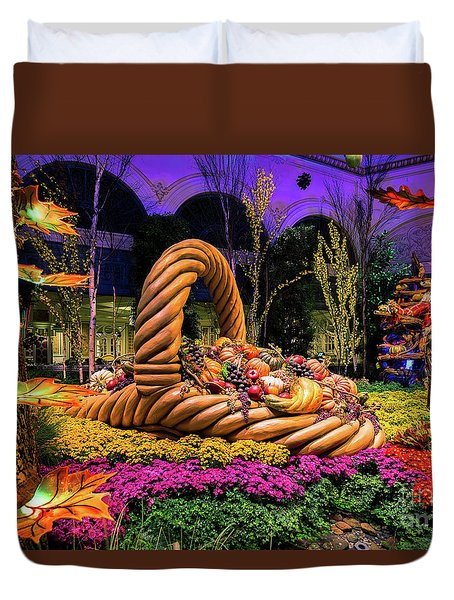Bellagio Harvest Show Basket And Scarecrow 2016 Duvet Cover
