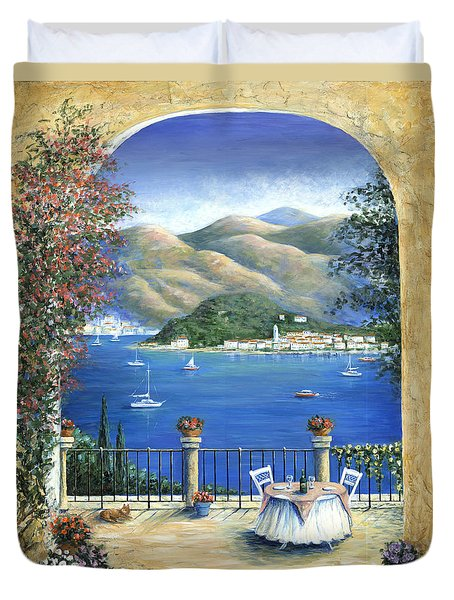 Bellagio Lake Como From The Terrace Duvet Cover by Marilyn Dunlap