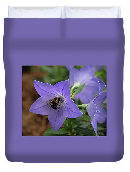 Duvet Cover featuring the photograph Bellflower And Bee  by Marie Hicks