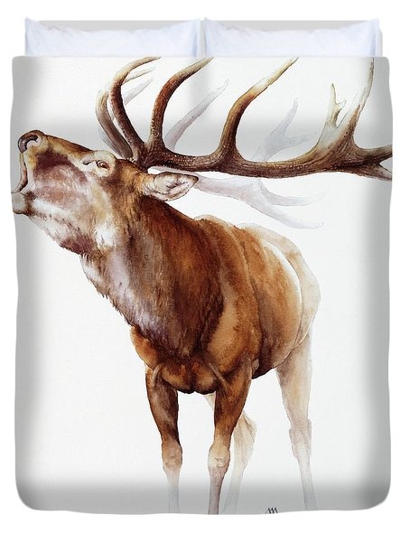 Belling Stag Watercolor Duvet Cover