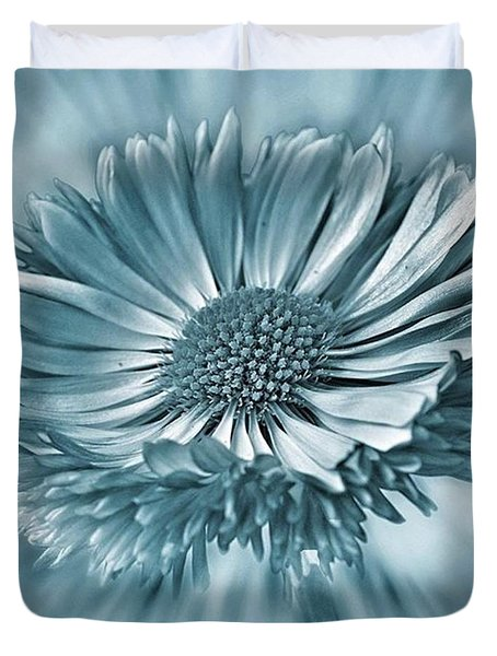 Bellis In Cyan  #flower #flowers Duvet Cover by John Edwards