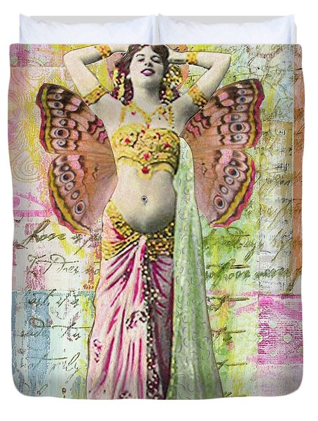 Duvet Cover featuring the mixed media Belly Dancer by Desiree Paquette
