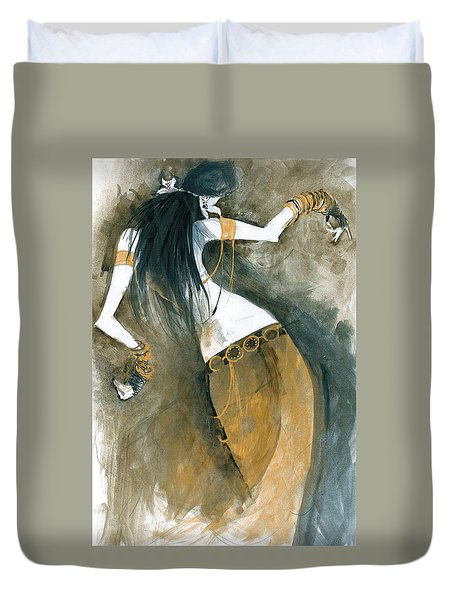 Duvet Cover featuring the painting Inspired By Zoe Jakes by Maya Manolova