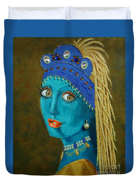 Belly Dancer With A Pearl Earring -- The Original -- Whimsical Redo Of Vermeer Painting Duvet Cover