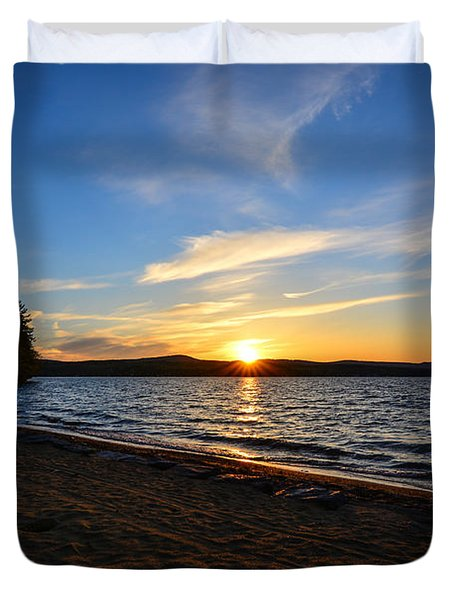 Duvet Cover featuring the photograph Belmont Nh Beach by Mim White