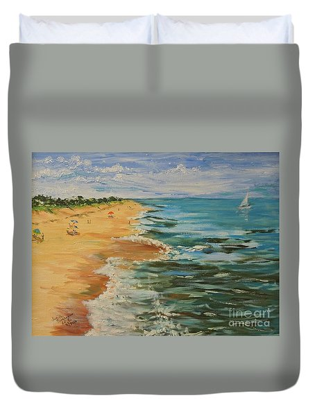Beloved Beach - Sold Duvet Cover by Judith Espinoza