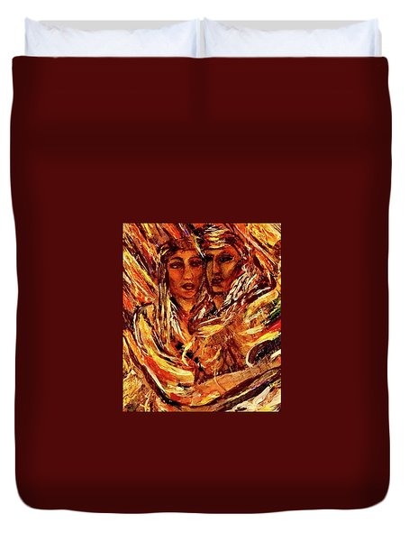 Duvet Cover featuring the painting Beloved Woman by Dawn Fisher