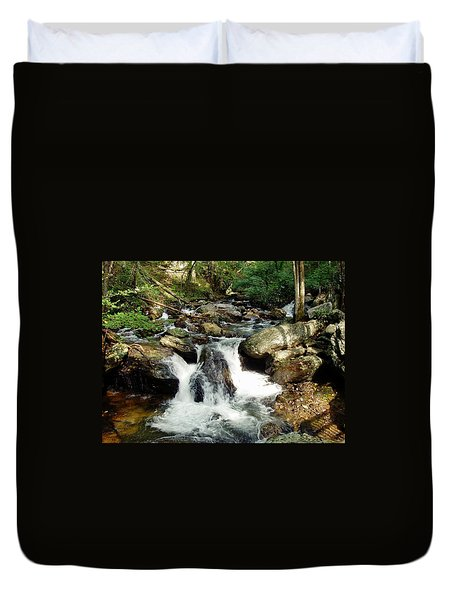 Duvet Cover featuring the photograph Below Anna Ruby Falls by Jerry Battle