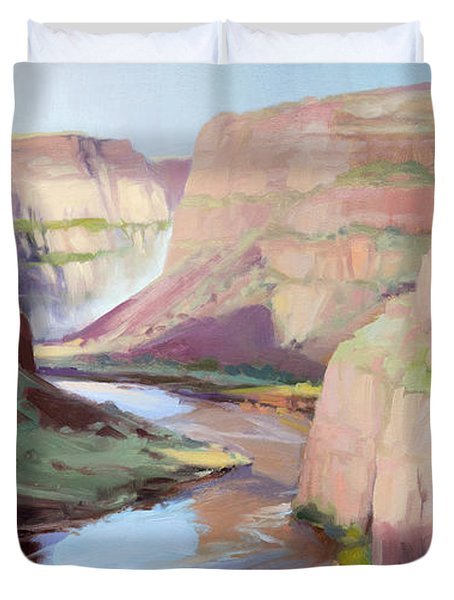 Below Palouse Falls Duvet Cover
