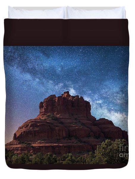 Below The Milky Way At Bell Rock Duvet Cover