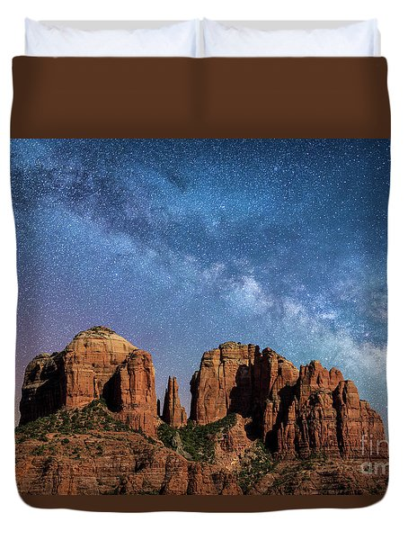 Below The Milky Way At Cathedral Rock Duvet Cover