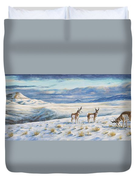 Belt Butte Winter Duvet Cover