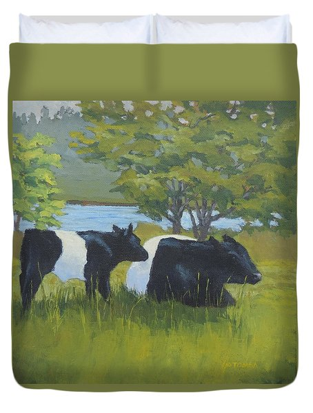 Belted Galloway And Calf Duvet Cover