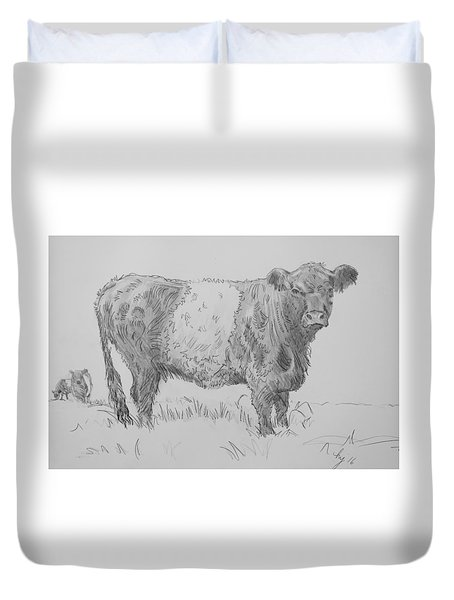 Belted Galloway Cow Pencil Drawing Duvet Cover