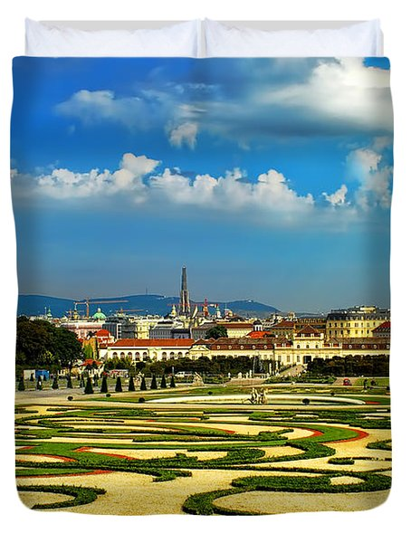 Duvet Cover featuring the photograph Belvedere Palace Gardens by Mariola Bitner