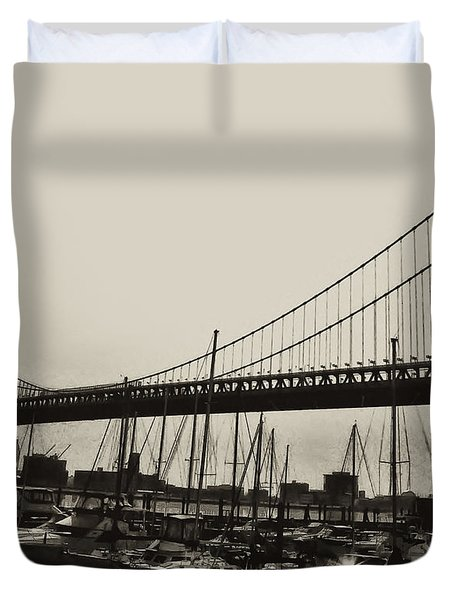Ben Franklin Bridge From The Marina In Black And White. Duvet Cover by Bill Cannon