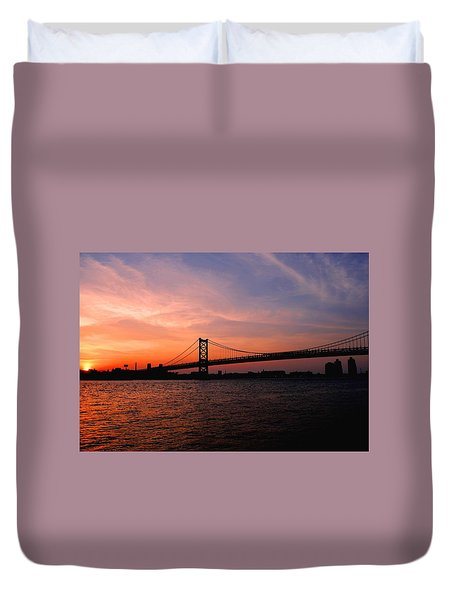 Ben Franklin Bridge Sunset Duvet Cover
