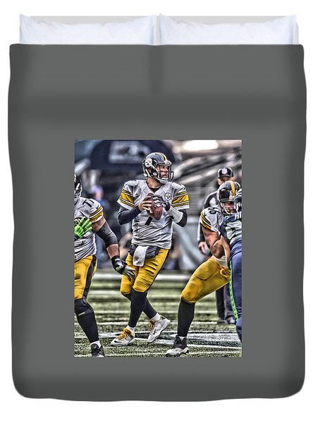 Ben Roethlisberger Pittsburgh Steelers Art Duvet Cover by Joe Hamilton