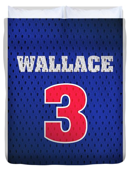 df760c1bb ... NBA Blue Ben Wallace Detroit Pistons Number 3 Retro Vintage Jersey  Closeup Graphic Design Duvet Cover by Design ...