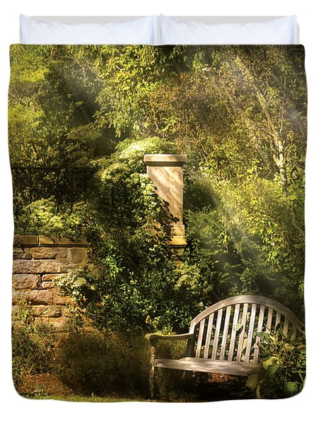 Bench - Edens Edge  Duvet Cover by Mike Savad