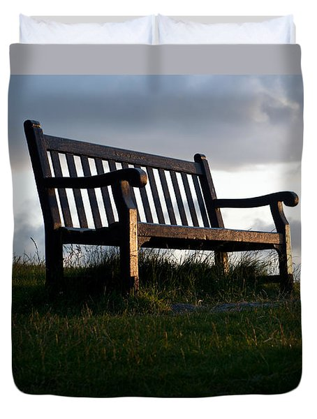Bench At Sunset Duvet Cover