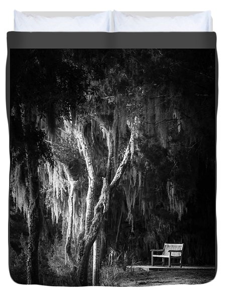 Bench At Sunset In Black And White Duvet Cover