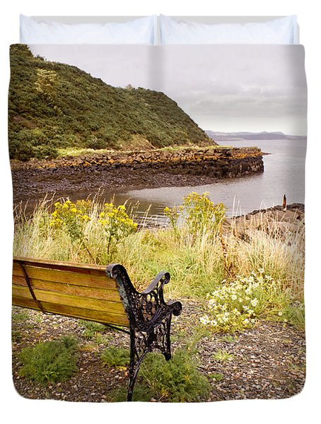 Bench At The Bay Duvet Cover