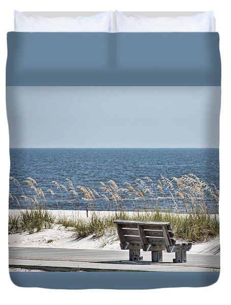 Bench At The Beach Duvet Cover by Cathy Jourdan