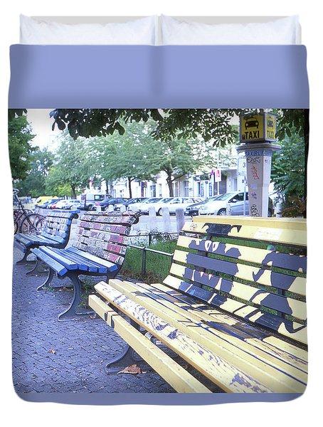 Bench Graffiti Duvet Cover
