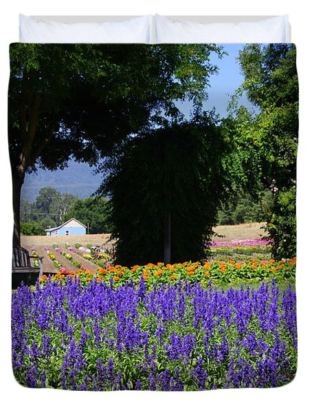 Bench In Flowers Duvet Cover