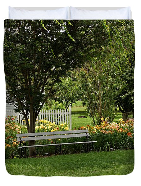Bench In The Garden Duvet Cover