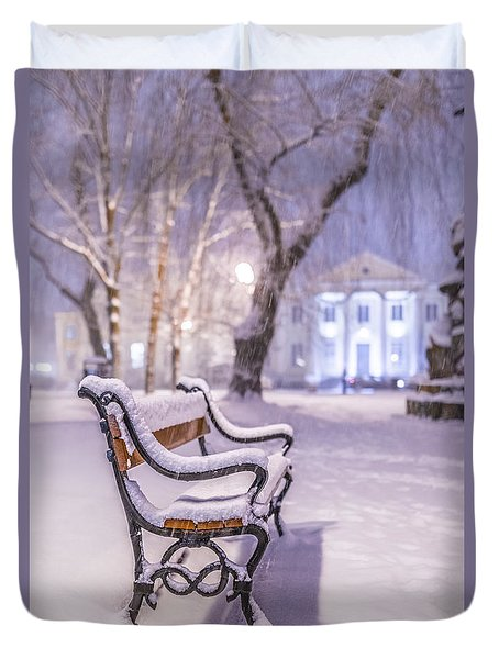 Duvet Cover featuring the photograph Bench by Jaroslaw Grudzinski