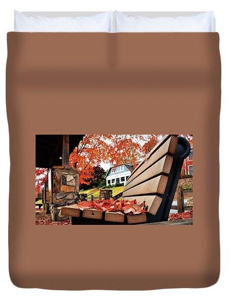 Bench Leaves Duvet Cover