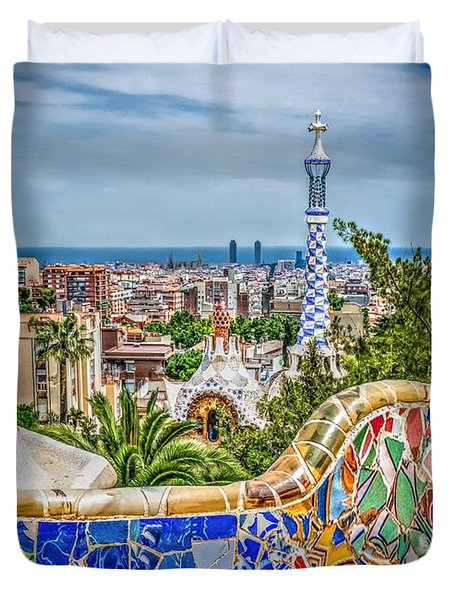 Bench Of Barcelona Duvet Cover